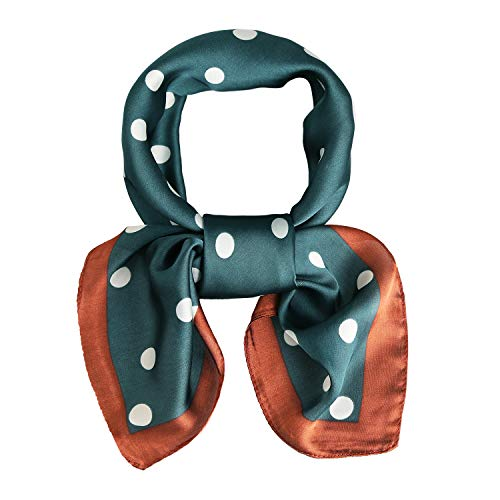 Silk Neck Scarf Polka Dot Scarfs For Women 27'' x 27'' Neckerchief Grace with Green with White Dot ()