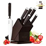 Knife Set, Homever Kitchen Knife Set 6-Piece Stainless Steel with Wood Handle, Rotatable Block Set for Recipe and Laptop