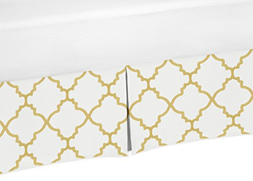 King Bed Skirt for White and Gold Trellis Lattice Bedding Sets (Select Comfort King Size Bed Dimensions)