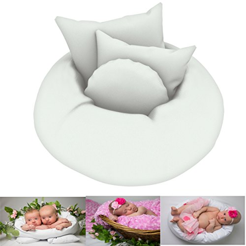 Newborn Posing Pillow (Set of 4 pcs.) - Baby Photography Props Improved Version Donut Shaped Basket Filler Or Photo Prop for Babies/Infants Newborn Photography Props by Cutest Baby