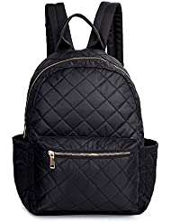 Women Backpack Black Small Nylon Backpack Purse Daypack Quilted Rucksack Girls