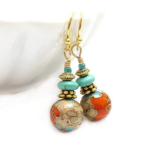 Cloisonne Earrings - Orange & Aqua - Turquoise Howlite - Antiqued Gold - Short Petite Earrings - Yoga Jewelry