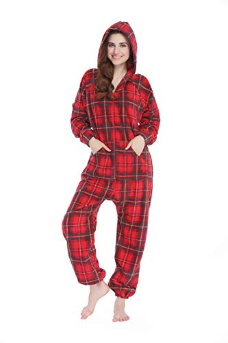 XMASCOMING Women's & Men's Hooded Fleece Onesie Pajamas Red Grey Plaid Size US M]()