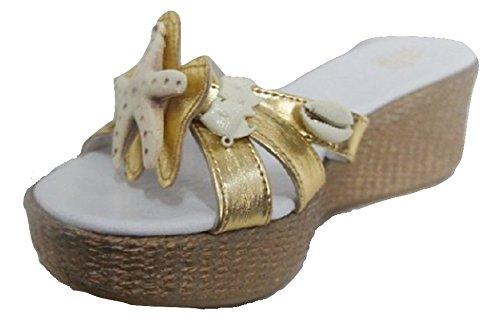 Lalu - Sandales Habillées D'or Pour Les Femmes Blanches Et Or 38.5 (6 Uk) 0fNijMInz