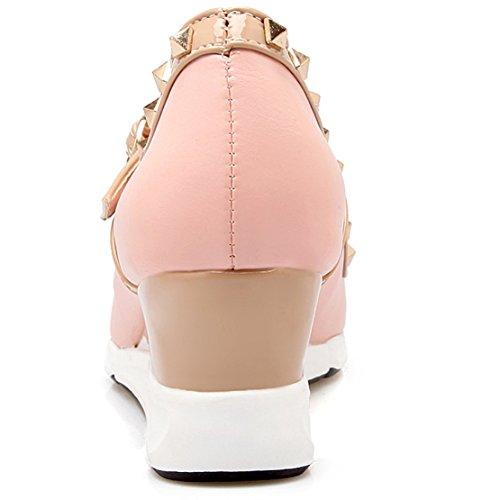 AIYOUMEI Damen Spitz T-spangen Keilabsatz Pumps mit Nieten Absatz und Schnalle Elegant Schuhe Rosa