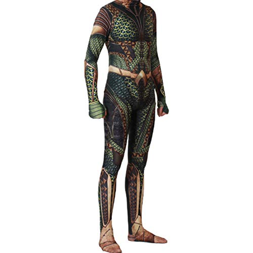 COSMOVIE Aquaman Jumpsuit Halloween Cosplay Costumes Arthur Curry Zentai 3D Muscle Bodysuit Dress Up]()