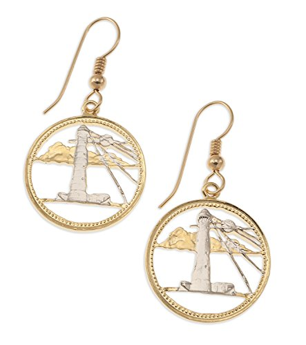 (Lighthouse Earrings, Barbados Five Cent Coin Hand Cut)
