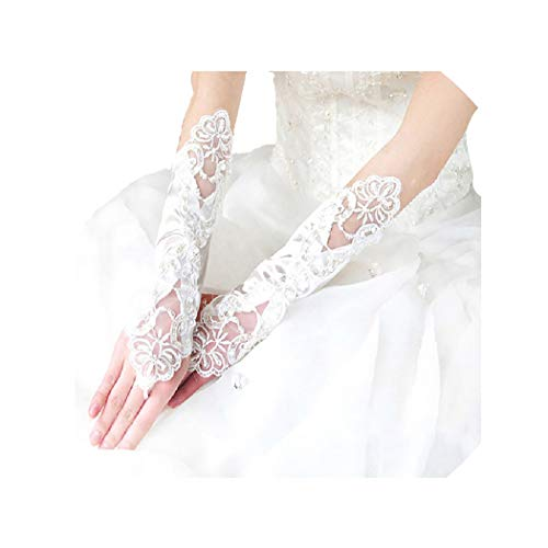 (Drecode Bride Gloves Beaded Sequins Bridal Glove Fingerless Wedding Accessories for Women and Girls (White))