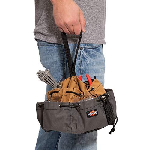 Dickies Work Gear – 12-Pocket Parachute Style Bag – 57004 – Grey/Tan Parachute Work Bag – Tool Bag – Construction – Snap-Secured Tape Strap – 8.8 oz. by Dickies Work Gear (Image #4)