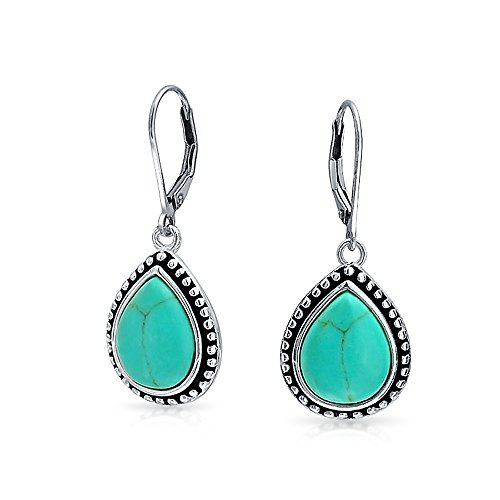- Bali Style Stabilized Turquoise Framed Pear Shaped Teardrop Leverback Dangle Earrings For Women Oxidized Sterling Silver