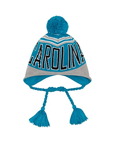 NFL Carolina Panthers Wintry Worded Knit Peruvian Hat, One Size, Blue