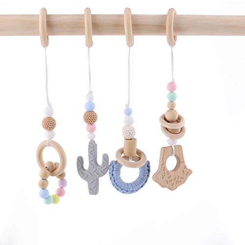 HAO JIE 4pc Wooden Baby Play Gym Mobiles Activity Gym Toys for Infant Wood Ring Cactus Handmade Rattles ()