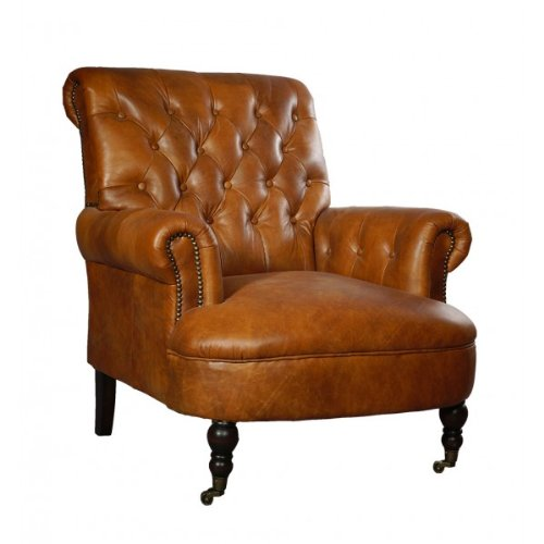 Ohrensessel Galway Vintage-Leder hellbraun Chesterfield-Look