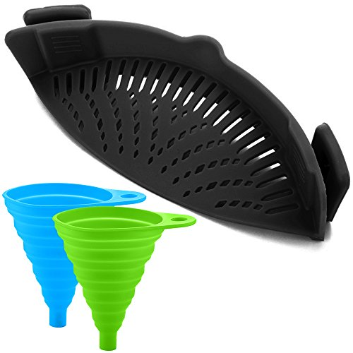FineGood Silicone Snap Strainer with 2 Collapsible Funnels, Hands-Free Clip-on Heat Resistant Colander Pour Spout for Pasta Vegetable Noodles Pot Bowl Pan - Black