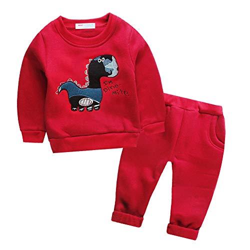 Mud Kingdom Baby Boys Fleece Outfits Dinosaur 24 Months Cute Cartoon Red ()