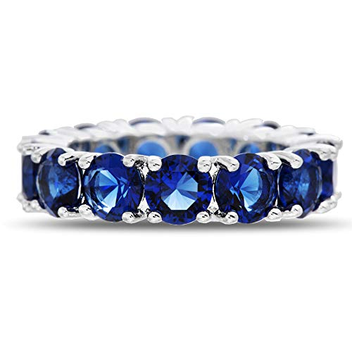 (Mia Sarine Round Simulated Blue Sapphire Eternity Band Ring for Women in Rhodium Plated Brass (Size 9))
