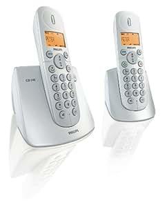 Philips - Teléfono (Altavoz, 100 entradas, Identificador de llamadas, Plata, Blanco)