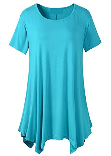 [LONSANT Womens Swing Loose Fit Short Sleeve Comfy Tunic T Shirt (XXXL, Lake Blue)] (Lake Forest Halloween Costumes)