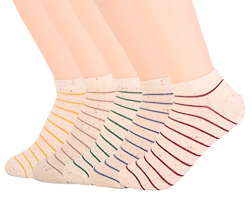 BeautyIn Women's 5 Pairs Casual Stripe Cotton Low Cut Ankle Crew Socks - Ultra Thin Cotton