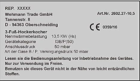 Grand gaz ébullition Anneau Fonte Brûleur Réchaud De Camping gaz régulateur 50 mbar GB-29