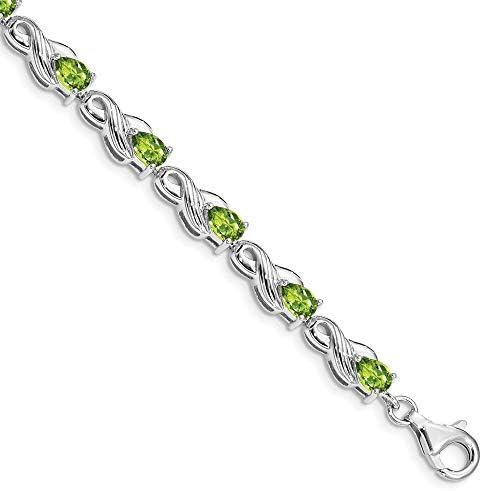 925 Sterling Silver Green Peridot Bracelet 7 Inch Gemstone Fine Jewelry For Women Gifts For Her