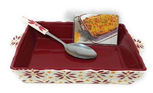 Temp-tations Embossed 4 Qt Baker, Casserole Dish (13x9), w/Server & Recipe Cards (Old World Cranberry)