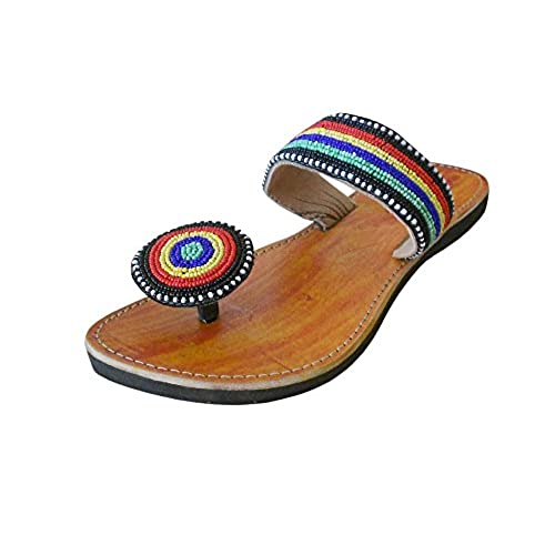 43e343a3c1ea Kalra Creations Women s Traditional Indian Slippers Shoes Leather With Sequence  Work Ethnic Flats 50%OFF