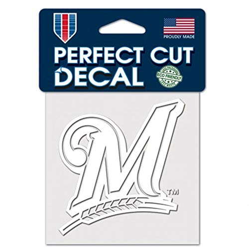 Stockdale Milwaukee Brewers White Logo WC 4x4 Decal Reusable Vinyl Perfect Cut Baseball (Brewers Baseball White Milwaukee)