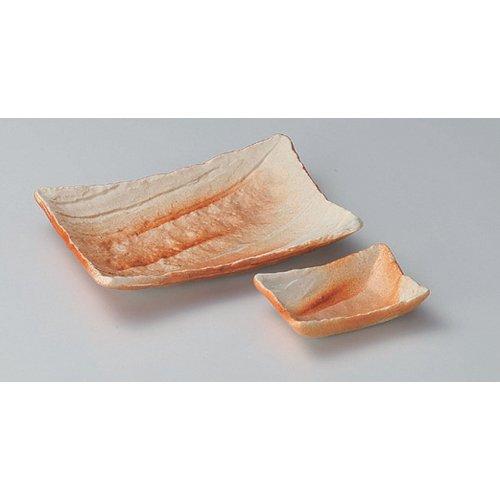 Grilled Fish Plate utw160-23--24-674 [plate 7.2 x 5.3 x 1.4 inch small plate 3.6 x 2.7 x 1 inch] Japanece ceramic Hidasuki length angle dish (small) + Chiyo Hisashi set tableware