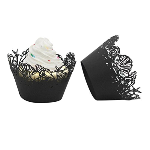 25pc Christmas Cupcake Wrappers,Minertech Artistic Bake Cake Lace Paper Cups for Wedding Party Birthday Decoration (Black)