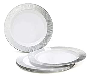""""""" Occasions"""" 120 Pack, Heavyweight Disposable Wedding Party Plastic Plates (7.5'' Salad/Dessert Plate, Diamond White/Silver)"""