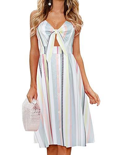 FANCYINN Womens Floral Prints Tie Front Button Down Spaghetti Strap Midi Dress (Color Stripe, X-Small)