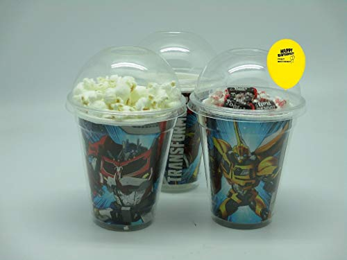 Set of 8 - Transformers Party Cups, Popcorn Cups, Goody Bags, Favor Boxes