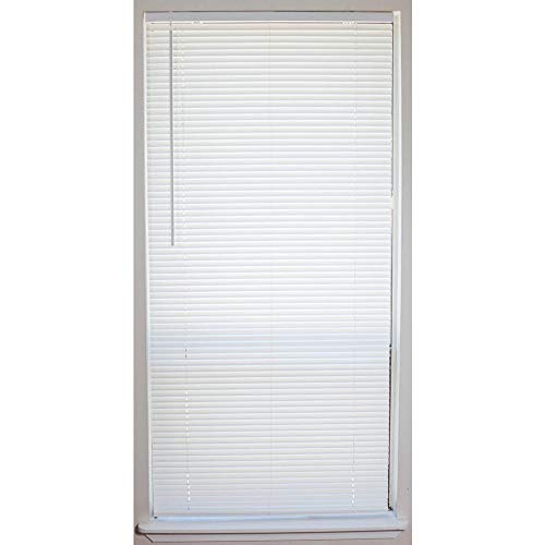 Hampton Bay White Cordless 1 in. Vinyl Mini Blind - 35 in. W x 64 in. L (Actual Blind Width is 34.5 in.) (Mini Blinds 35 Inch Wide)