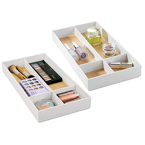 mDesign Stackable Makeup Organizer for Bathroom Drawers, Vanities, Countertops: Organize Makeup Brushes, Eyeshadow Palettes, Lipstick, Blush, Concealer - 4 Sections, 2 Pack - White/Light Wood Finish