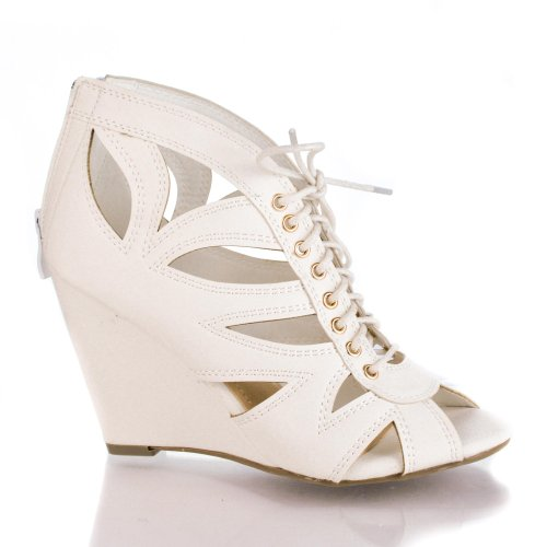 Dolala1 White Peep Toe Laser Cut Out Grommet Lace Up Mid Wedge Heel Dress (Laser Cut Out Dress)