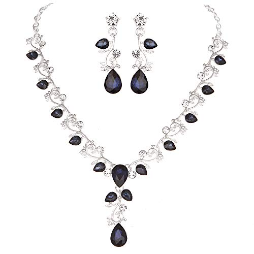 Youfir Leaf Vine Crystal Necklace Earrings Jewelry Set for Bridesmaids V-Neck Formal Evening Dress (Navy Blue)