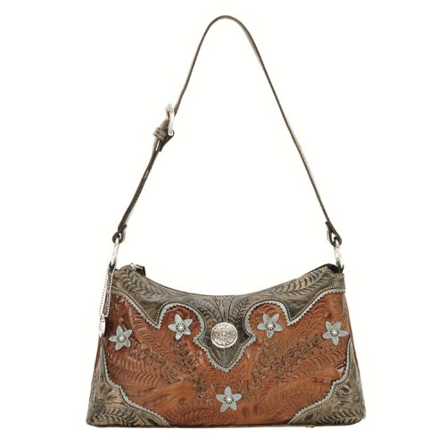 American West Women's Desert Wildflower Zip Top Shoulder Bag Brown One Size