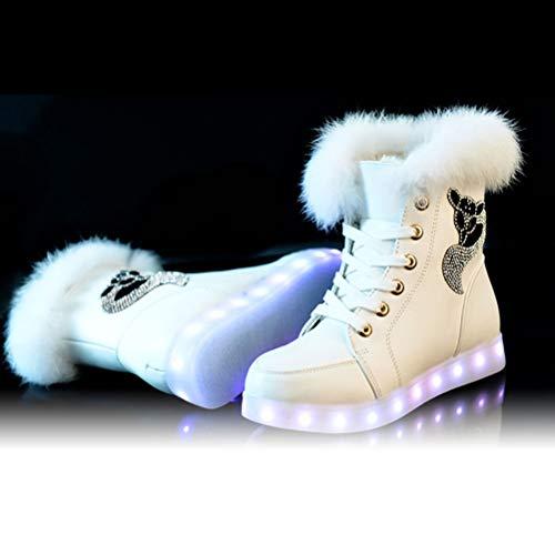 Colores De Nieve Bestoyard Blanco Botas Terciopelo Conejo Usb Mujer tamaño 35 Carga Radiantes Piel Más Zapatos Cálidas Invierno Para Por 5wAE6Aq