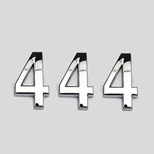 THREE TO ONE House Mailbox Number Sign Arcylic Adhesive Sticker for Door House Mailbox Street Address Car 2.8' 3PCS Silver (4)