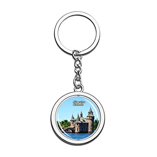Keychain Thousand Islands Kingston Canada Keychain 3D Crystal Spinning Round Stainless Steel Keychains Travel City Souvenir Key Chain Ring]()