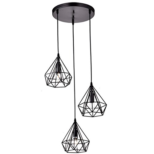 Three Geometric Light - Dazhuan Antique Metal Pendant Lighting Fixtures Rustic Chandeliers Lamps with 3 Lights