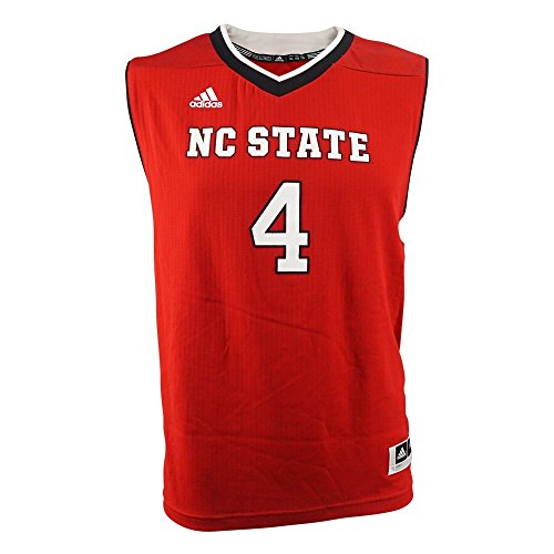 NC State Wolfpack NCAA Adidas Red Official Road Away Replica #4 Basketball Jersey For Youth (L) (Youth Replica Away Official Jersey)