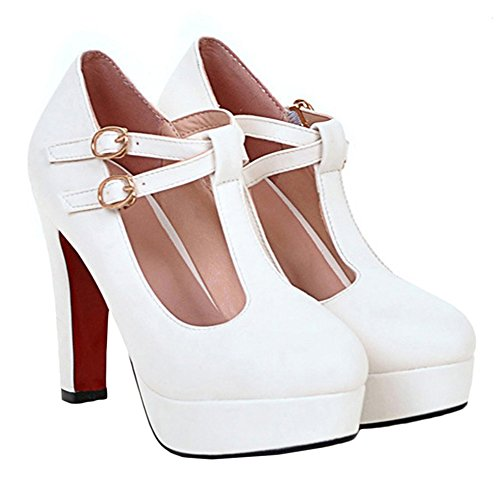 White Talons Hauts Pompes forme Carnaval Chaussures Wedge Heel strap Plateau Bloc Confortables fermoirs Mesdames Escarpins Mary wedgepumps Scothen Costume Plate Avec Janes Princess Talon AEq5wgx
