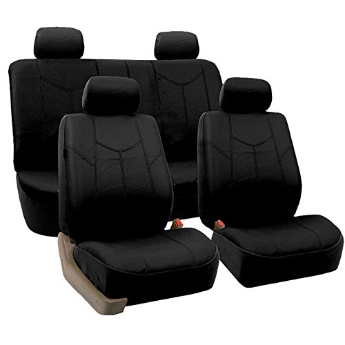 FH GROUP FH-PU009114 Rome PU Leather Seat Covers Airbag Ready & Rear Split Solid Black- Fit Most Car, Truck, Suv, or Van