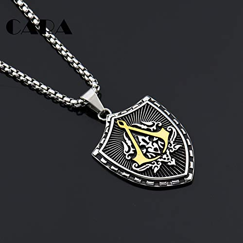 New Arrival 2 Tone 316L Stainless Steel Free Mason Pendant Necklace Mens Freemasonry Shield Necklace /& Pendant CAGF0481 Metal Color: Antique Gold Plated, Main Stone Color: White, Length: 50cm