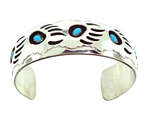 BY Navajo Artist: Pearlene Spencer! Beautiful! Genuine Navajo Sterling-silver Turquoise Bear Paw Shadow Box Men's Bracelet