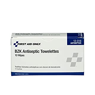 First Aid Only 12-018 Benzalkonium Chloride Antiseptic Towelette (Box of 10),White