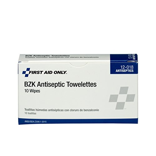 Pac-Kit by First Aid Only 12-018 Benzalkonium Chloride Antiseptic Towelette (Box of 10)
