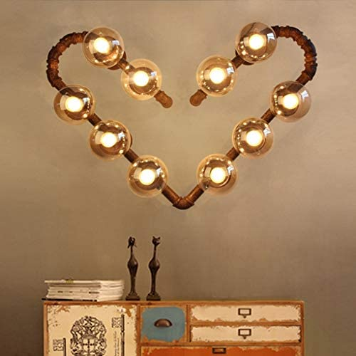 . American Retro Industrial Style Personality Creative Bar Wall Lamp Corridor Cafe Wrought Iron Heart Shaped Water Pipe Wall Light [Energy Class A +]